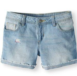 NWT Girl's Fashion Denim Rolled Cuff Shorts. 14P